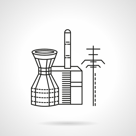 thermal power plant: Thin line design vector icon for thermal power plant. Design element for business and website