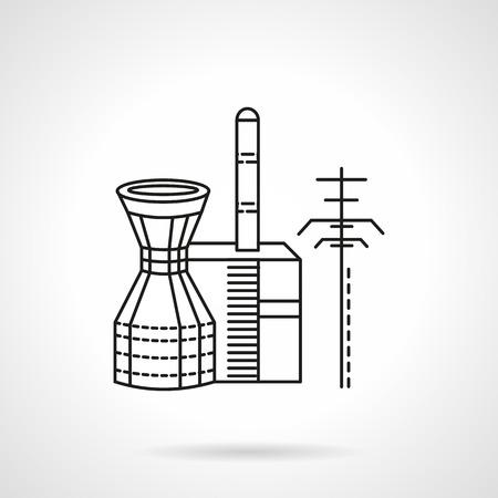 plante design: Thin Line ic�ne vecteur de conception de la centrale thermique. �l�ment de design pour les affaires et le site Web