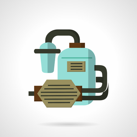 purification: Flat color design vector icon for water supply system. Water tank, filters system, pipeline and pump. Design element for business and website