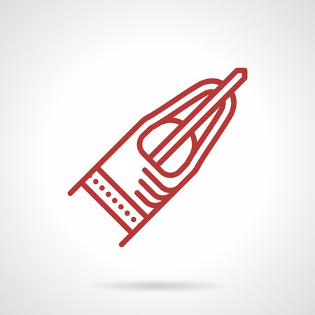 surgical needle: Red simple line vector icon for tip with needle for tattoo machine. Supplies and accessories for tattoo parlor or shop. Design element for business and website
