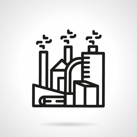 chemically: Simple black line vector icon for chemical plant or processing of chemical waste. Processing factory, towers with smoke, enviromental pollution. Design element for business and website