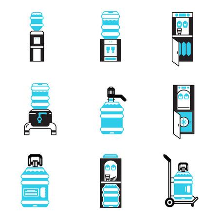 ウォーター クーラーのフラット ブラックとブルーの輪郭ベクトルのアイコンのセットです。ウォーター クーラー機器、浄水器、水配達。ビジネス