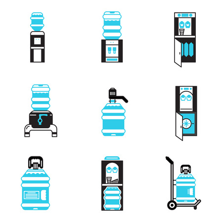 Set of flat black and blue contour vector icons for water coolers. Water cooler equipment, purifiers, water delivery. Design elements for business and website.