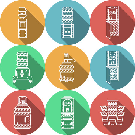 water cooler: Set of colorful round flat vector icons with white line elements of water cooler equipment and supplies. Long shadow design elements for business and website.