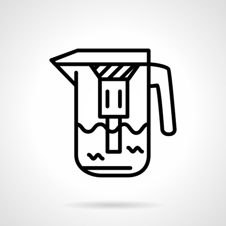filtration: Simple black line vector icon for water filtration jug with filter for domestic water purification. Design element for business and website.