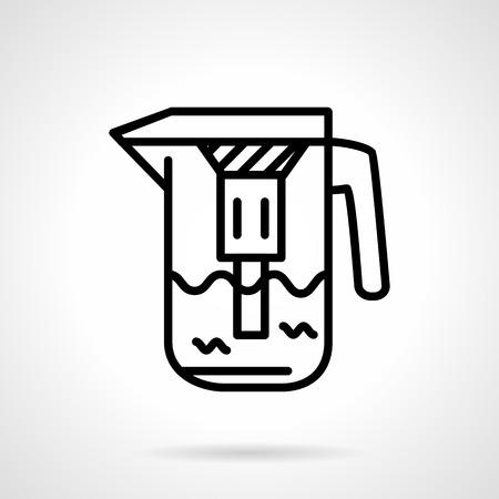 filtraci�n: Simple del icono del vector de l�nea negro para jarra de filtraci�n de agua con filtro para la purificaci�n de agua dom�stica. Elemento de dise�o para los negocios y el sitio web.