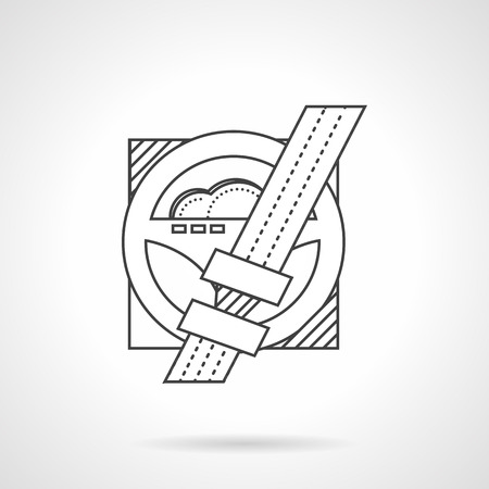 rule line: Thin line design vector icon for rule for driving. Fastened seat belt for driver and passenger safety. Design element for business and website.
