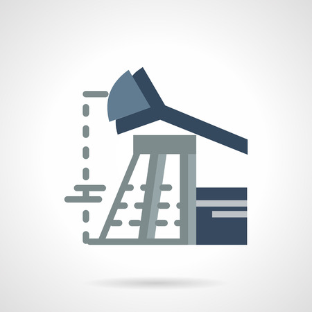 petroleum blue: Flat color design vector icon for blue pump jack for oil extraction. Petroleum industry, research and processing. Design element for business and website.