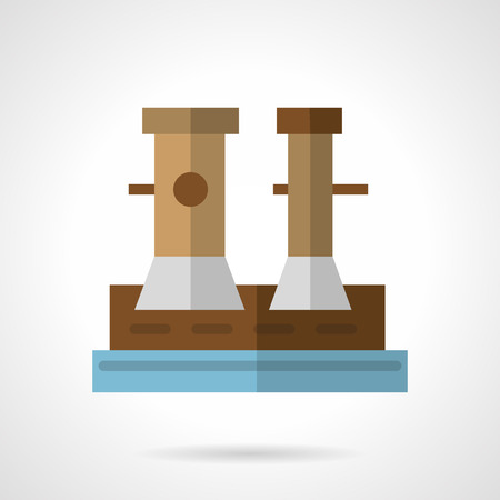 mooring: Flat color design vector icon for marina bollard on jetty for boats, ships and yachts mooring. Design element for business and website.Flat color design vector icon for marina bollard on jetty for boats, ships and yachts mooring. Design element for busine Illustration