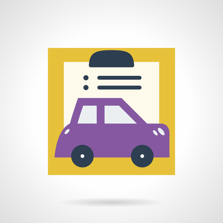 ownership and control: Abstract flat color design vector icon for car insurance. Paperwork and purple automobile. Design element for business and website. Illustration