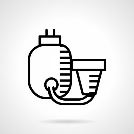 filtration: Abstract flat line design vector icon for filtration system for water. Domestic or industry water purification, swimming pool system. Design element for business and website.