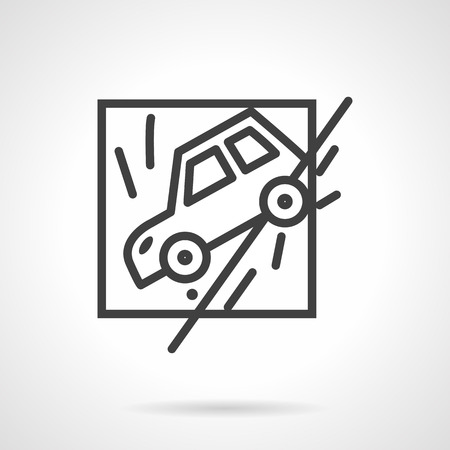 occasions: Abstract flat black line design vector icon for car slid off a road. Occasions for car insurance. Design element for business and website.