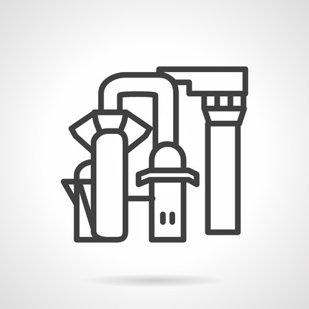 industrial complex: Simple line design vector icon for water desalination station. Pipeline, tank, desalination equipment, pump. Design element for business and website.