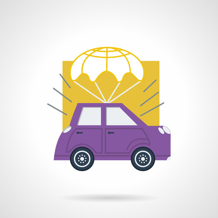 Abstract flat color design vector icon for rent and delivery of car. Purple automobile with white parachute Design element for business and website.