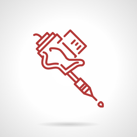 Simple red line design vector icon for grip for tattoo machine. Tattoo gun, supplies for tattoo parlor. Design element for business and website.