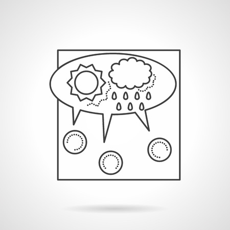 crowd source: Concept thin line design vector icon for crowdsourcing. Abstract cloud with discussion of idea. Design element for business and website.
