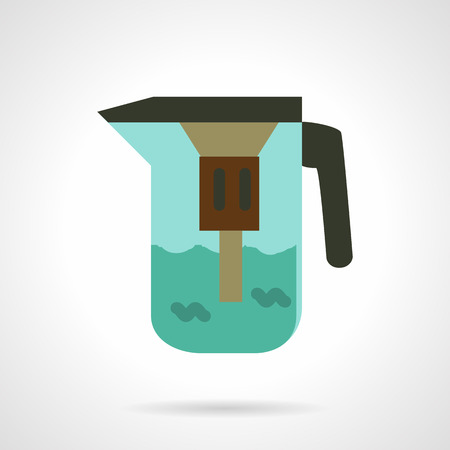 water filter: Flat color style vector icon for full water jug with filter. Portable water purification system. Design element for business and website.