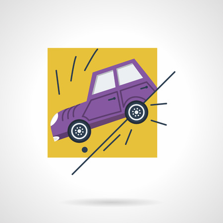 trip hazard: Flat color vector icon for sliding car off a road. Design element for business and website.