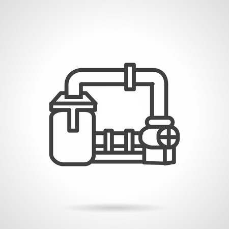 transporting: Flat line design vector icon for gas transmission system. High pressure pipeline for gas transporting. Design element for business and website.
