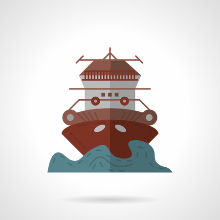 marine industry: Flat color vector icon for cruise ship. Marine industry. Design element for business and website.