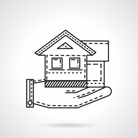 for rental: Thin line design vector icon for rental of residential property. Hand holding house. Design element for business and website.