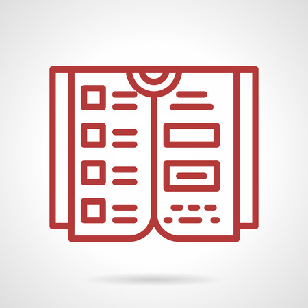 reference: Flat red line design vector icon for reference book. Design element for business and website. Illustration