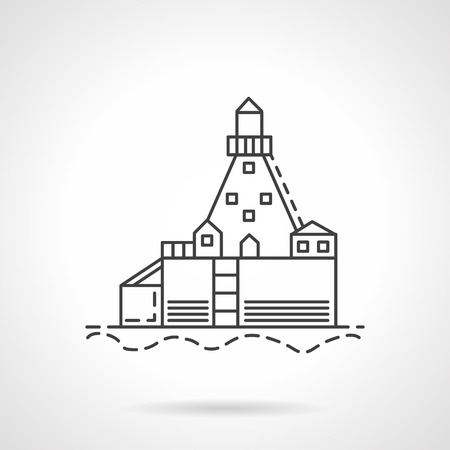 marine industry: Flat line design vector icon for harbor dock or warehouse. Marine industry. Design element for business and website.