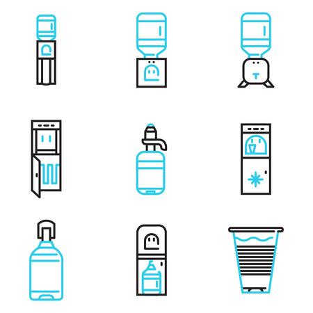 水クーラー ビジネスの黒と青のシンプルなラインのベクトルのアイコンのセットです。ビジネスおよびウェブサイトのためのデザイン要素です。