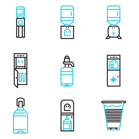 Set of black and blue simple line vector icons for water coolers business. Design elements for business and website.