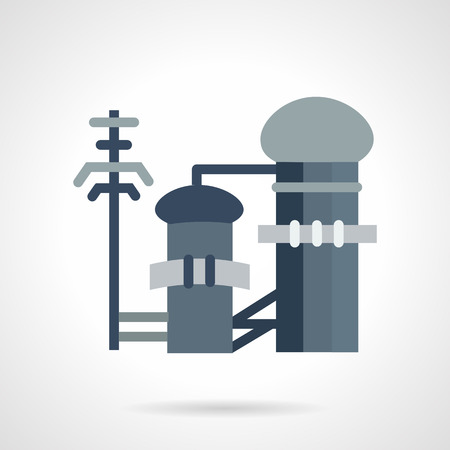 sedimentation: Flat color design vector icon for industrial building of waste treatment. Plants and factories, environment pollution and ecology problem. Design elements for business and website Illustration