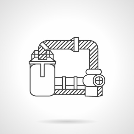 sewage treatment plant: Flat line design vector icon for wastewater treatment. Plants and factories, environment pollution and ecology problem. Design elements for business and website