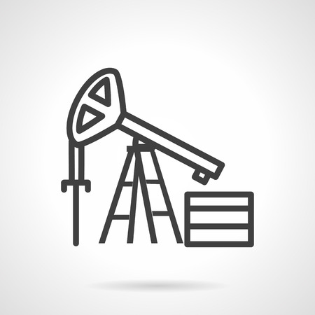 extraction of oil: Black simple line style vector icon for oil derrick or pump jack. Research, drilling well and extraction oil and gas. Design elements for business and website