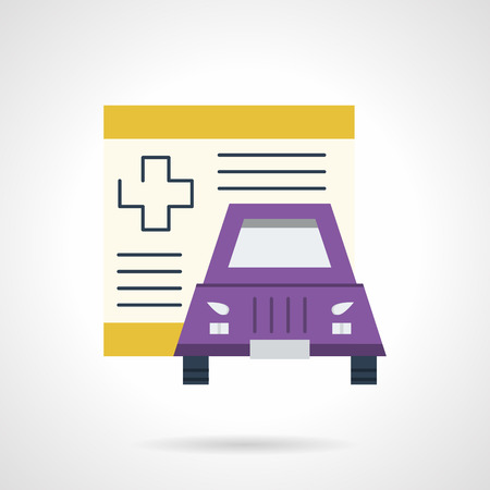 purple car: Colored flat design vector icon for driver health insurance. Insurance document paper and purple car. Design elements for business and website Illustration