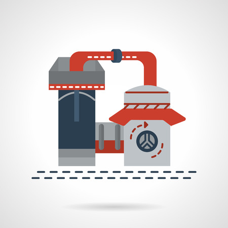 petrochemistry: Flat color vector icon for refinery plant. Processing of natural resources. Design elements for business and website Vectores