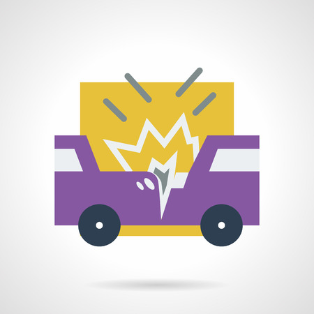 occasions: Abstract flat color style vector icon for car crash or car accident. Two smash purple automobiles. Occasions for car insurance. Design elements for business and website