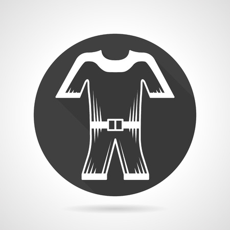 wetsuit: Flat round black vector icon with white contour wetsuit. Professional wear for divers and surfers. Outfit for diving and snorkeling. Design elements for business and website