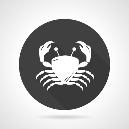 crustacean: Flat round black vector icon with white silhouette crab. Seafood menu, crustacean, undersea life. Design elements for business and website Illustration