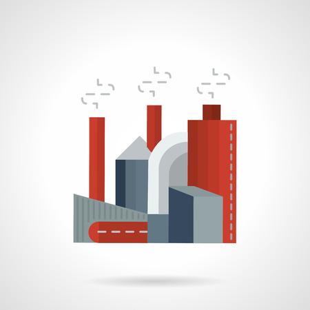 工業ビルのフラットな色のスタイルのベクトルのアイコン。工場煙パイプ、環境汚染、生態系の概念。ビジネスやウェブサイトの設計要素  イラスト・ベクター素材