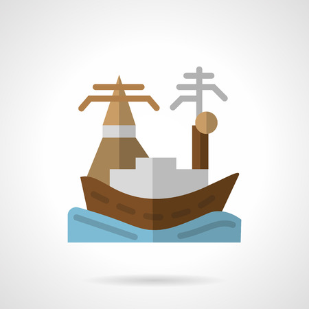 docking: Flat color style vector icon for sea port or harbor. Harbor with cargo ship docking. Design elements for business and website