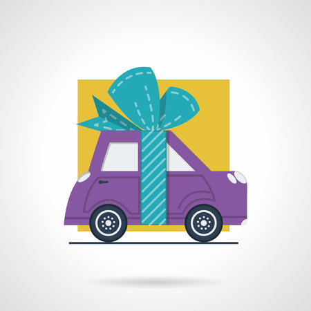 proposition: Flat color style vector icon for advertising action for cars. Purple automobile with ribbon bow for sale, rent or insurance proposition. Design elements for business and website
