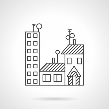 commercial property: Flat line style vector icon for apartments for sale or rent. Rental of residential and commercial property. Design elements for business and website Illustration