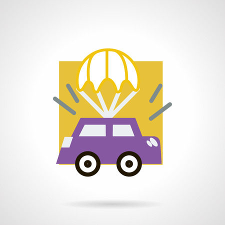purple car: Flat color design vector icon for purple car with white parachute.