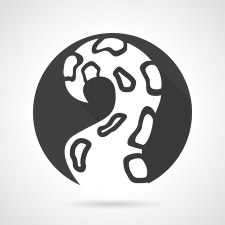 tentacle: Black round vector icon with white silhouette single octopus tentacle.