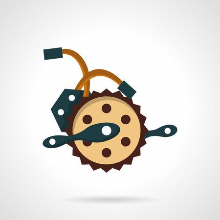 bike parts: Flat color design vector icon electric bike parts.  Illustration