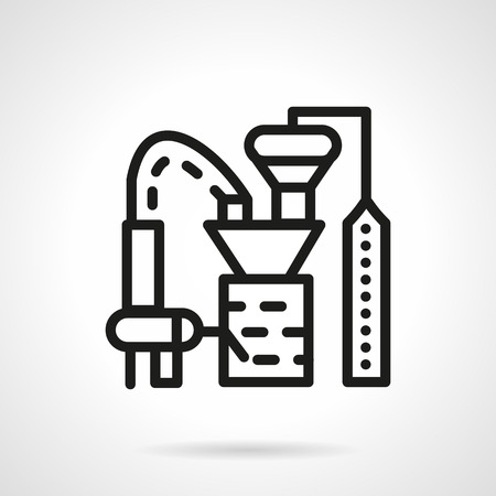 grain storage: Flat black line design vector icon for plant for processing crops.  Illustration