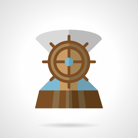ship deck: Flat color design vector icon for sea vessel. Wooden helm on a ship deck.