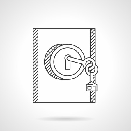 for rental: Flat line design vector icon for rental of residential or commercial property.