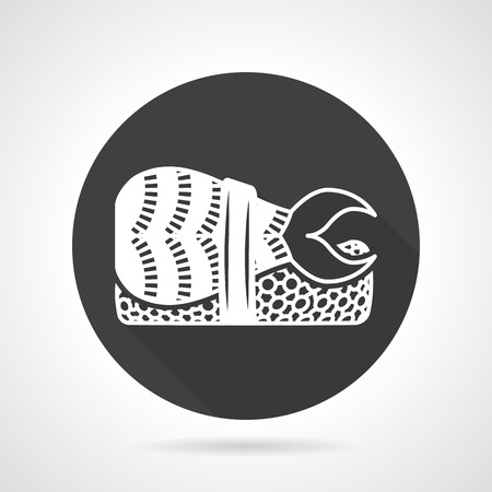 prawn: Flat black round vector icon with white contour nigiri sushi with prawn.  Illustration