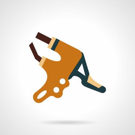 palanca: Plano de iconos de vectores estilo de color para la bicicleta palanca del freno hidr�ulico. Vectores