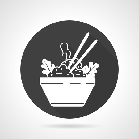 boiled: Black round vector icon with white silhouette boiled rice in bowl with vegetables and chopsticks.
